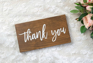 Modern Wooden Thank You Sign