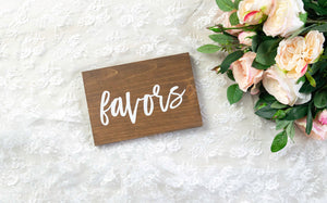 Modern Wooden Favors Sign