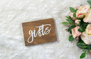 Modern Wooden Gifts Sign