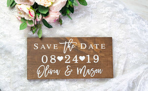 Save the Date Sign with Names and Wedding Date