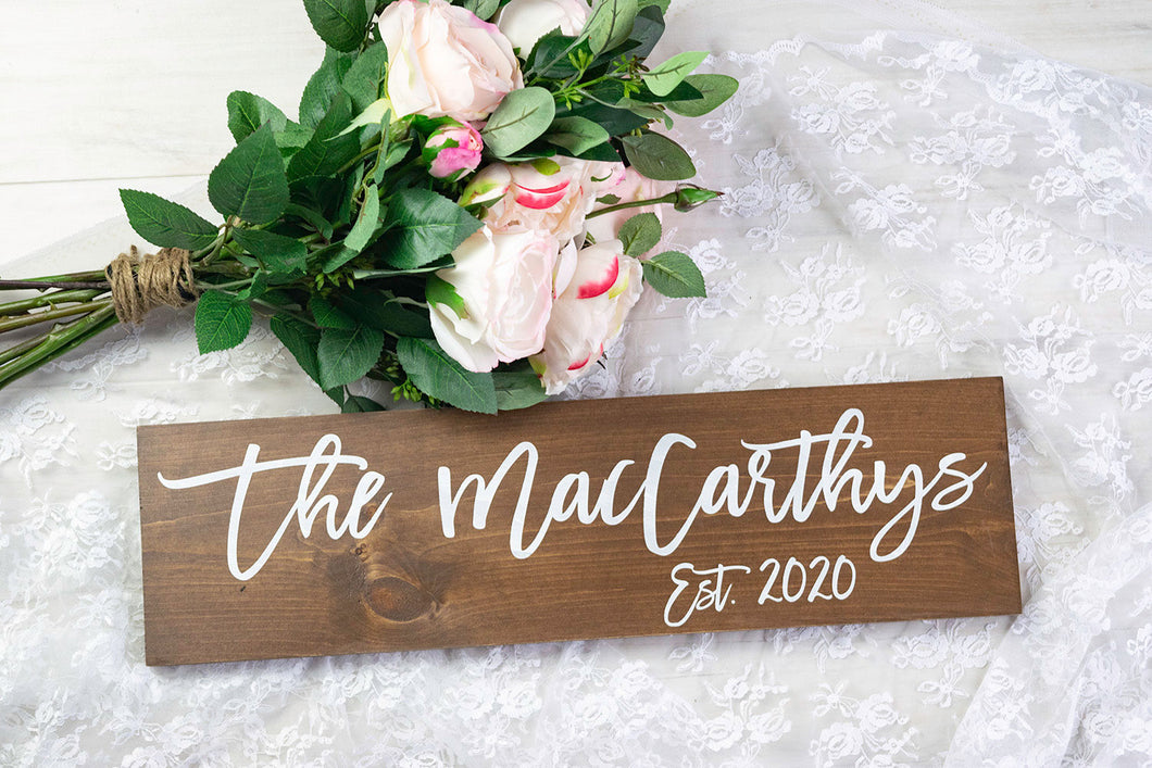 Modern Wooden Last Name Wedding Sign with Established Year