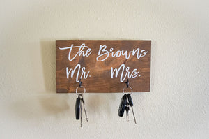 Personalized Last Name Mr and Mrs Key Holder
