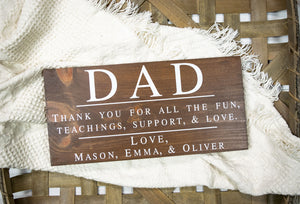 Thank You Dad Sign - Personalized Fathers Day Gift