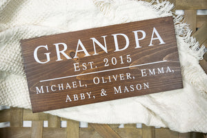 Grandpa Sign - Personalized Gift for Grandfather