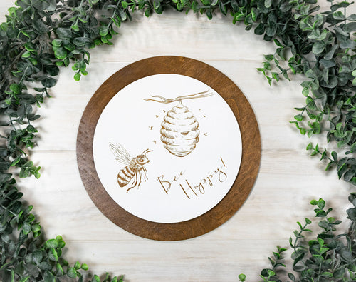 Bee Happy Sign - Honey Bee Home Decor - 10