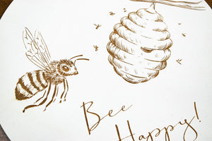 "Bee Happy Sign - Honey Bee Home Decor - 10"" Round"