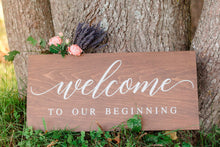 Load image into Gallery viewer, Wedding Welcome To Our Beginning Sign