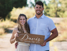 "Load image into Gallery viewer, Personalized Last Name and Established Date Wooden Wedding Sign - 22"" by 7.25"""