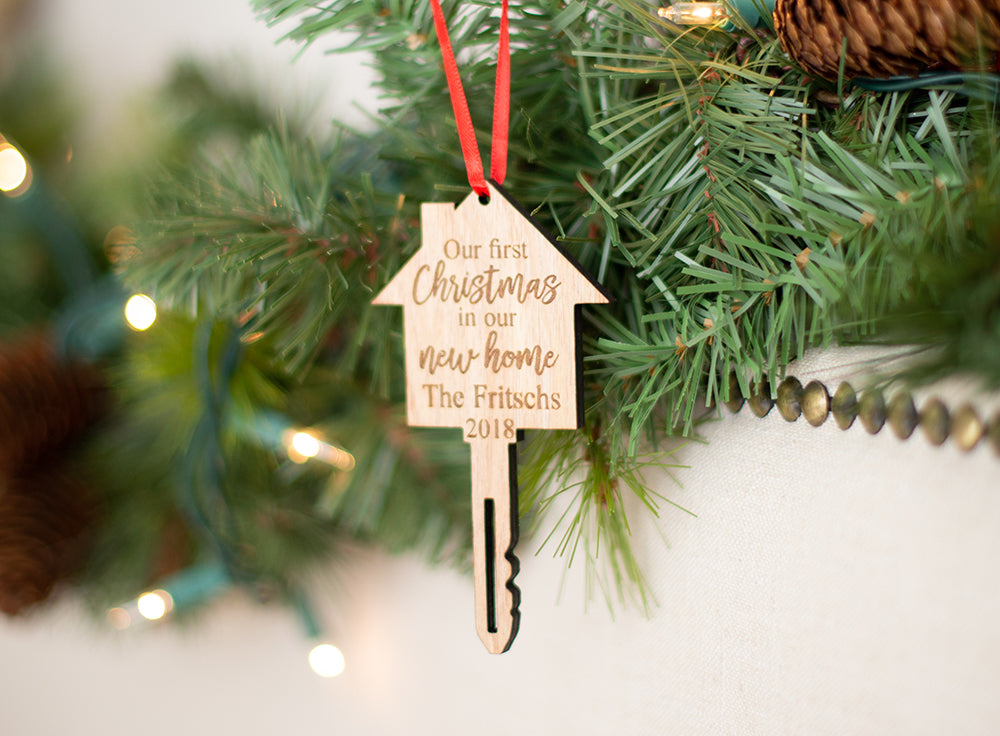 c10c043b9b37b First Christmas In Our New Home Christmas Ornament with Last Name ...
