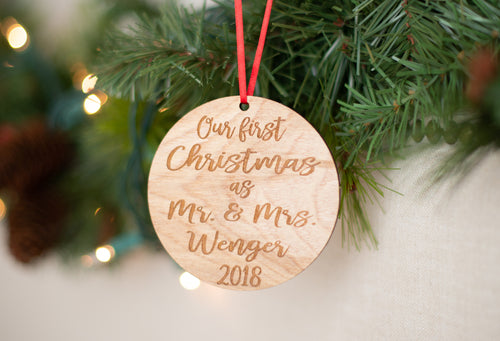 Our First Christmas As Mr and Mrs Ornament with Last Name and Year