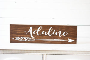 Woodland Name Sign with Arrow for Nursery