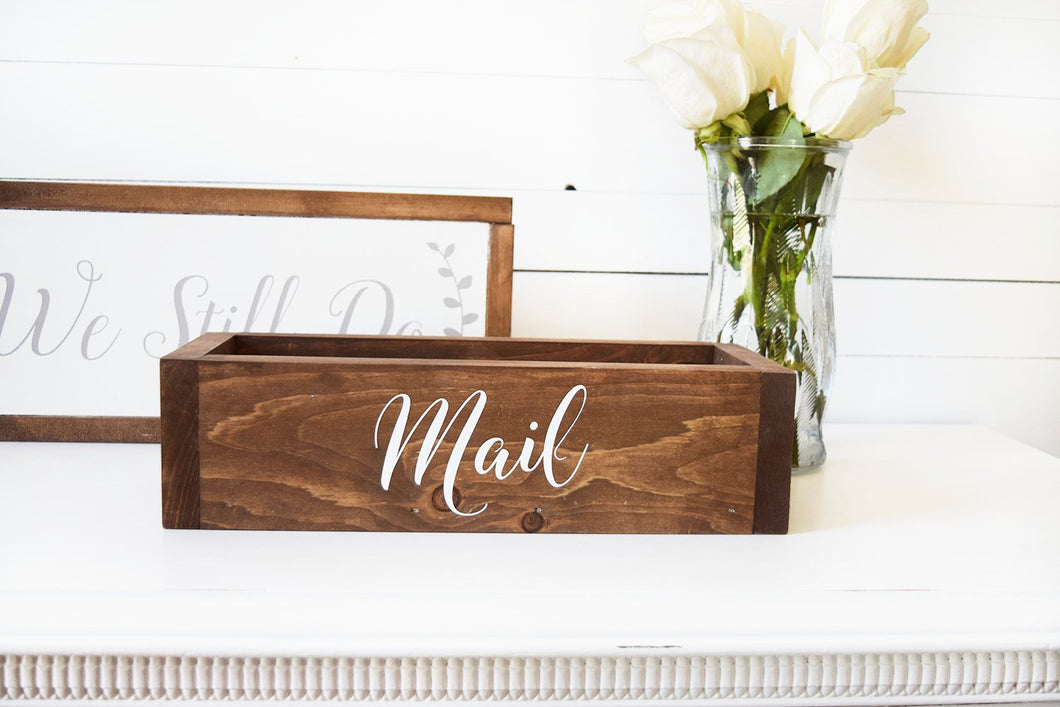 Wooden Mail Organization Box for Entryway or Office