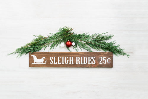 Rustic Woodland Style Christmas Sleigh Rides Sign - 30