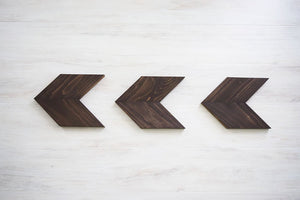 Set of Three Wood Chevron Arrows - Rustic Home Decor