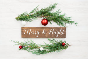 Rustic Merry and Bright Christmas Sign