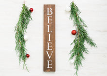 "Load image into Gallery viewer, Rustic Wooden Believe Christmas Sign - 20"" Tall by 3.5"" wide"