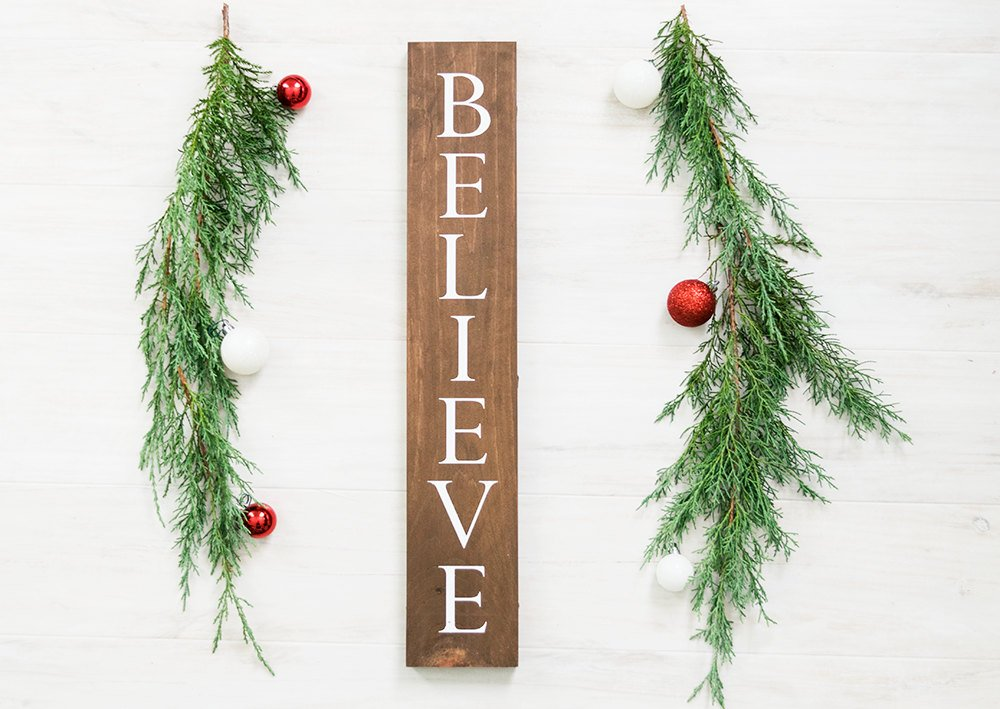 Rustic Wooden Believe Christmas Sign - 20