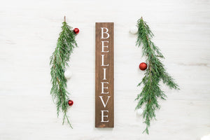 "Rustic Wooden Believe Christmas Sign - 20"" Tall by 3.5"" wide"