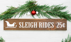 "Rustic Woodland Style Christmas Sleigh Rides Sign - 30"" by 5.5"""