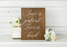 Load image into Gallery viewer, Rustic Love is Patient Love is Kind Wood Sign