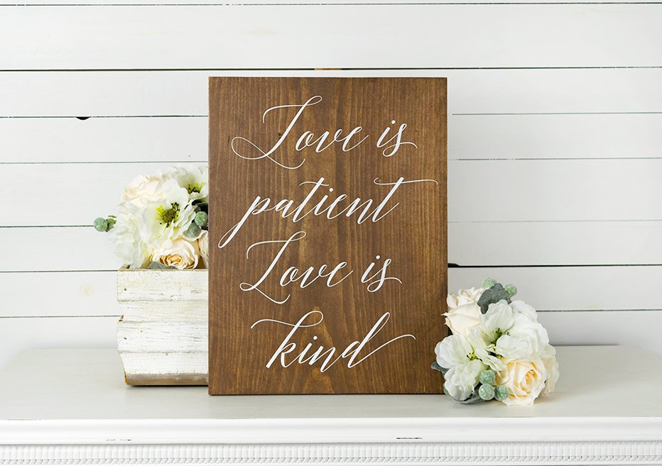 Rustic Love is Patient Love is Kind Wood Sign