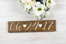 "Load image into Gallery viewer, Wedding Date Sign with Hearts - 15"" by 3.5"""