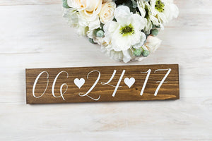 "Wedding Date Sign with Hearts - 15"" by 3.5"""
