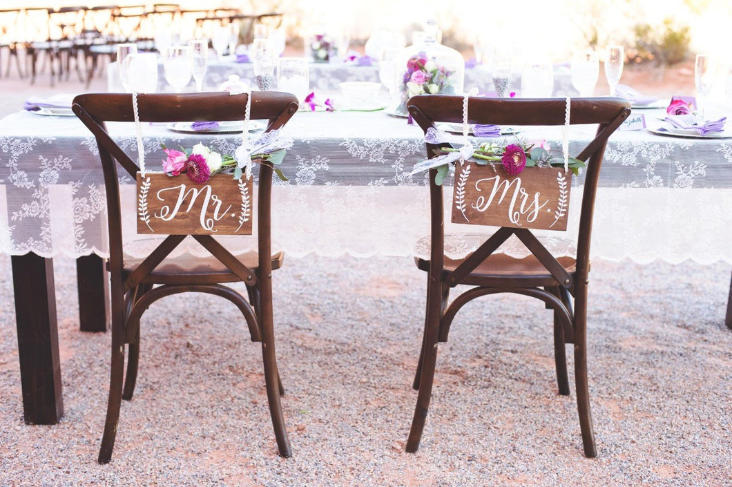 Rustic Wedding Mr and Mrs Chair Signs - 10