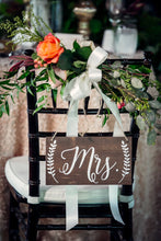 "Load image into Gallery viewer, Rustic Wedding Mr and Mrs Chair Signs - 10"" by 5.5"""