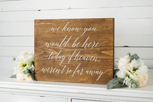 Load image into Gallery viewer, Wedding Memorial Table sign- We know you would be here today sign