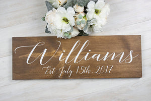 "Personalized Last Name and Established Date Wooden Wedding Sign - 22"" by 7.25"""