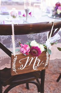 "Rustic Wedding Mr and Mrs Chair Signs - 10"" by 5.5"""