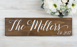 Last Name Sign for Bridal Shower or Anniversary Gift