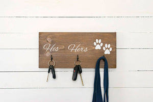 "Personalized Last Name, His, Hers, and Paws Key and Leash Holder - 12"" by 7.25"""