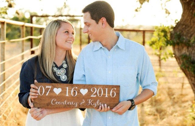 Wedding Date Sign with Names and Hearts