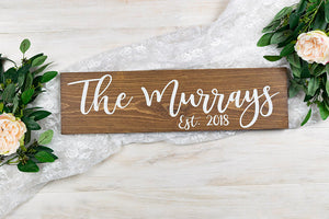 "Wedding Last Name Sign with Established Year - 20"" by 5.5"""