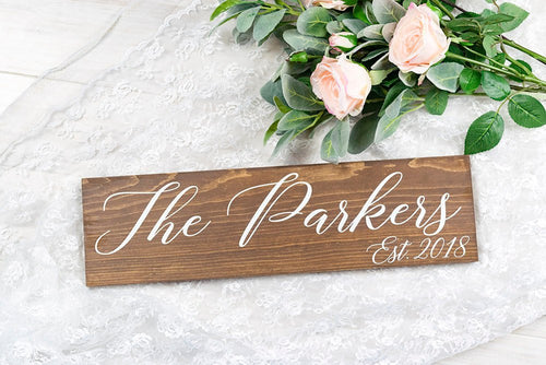 Last Name Sign, Gift For Bride