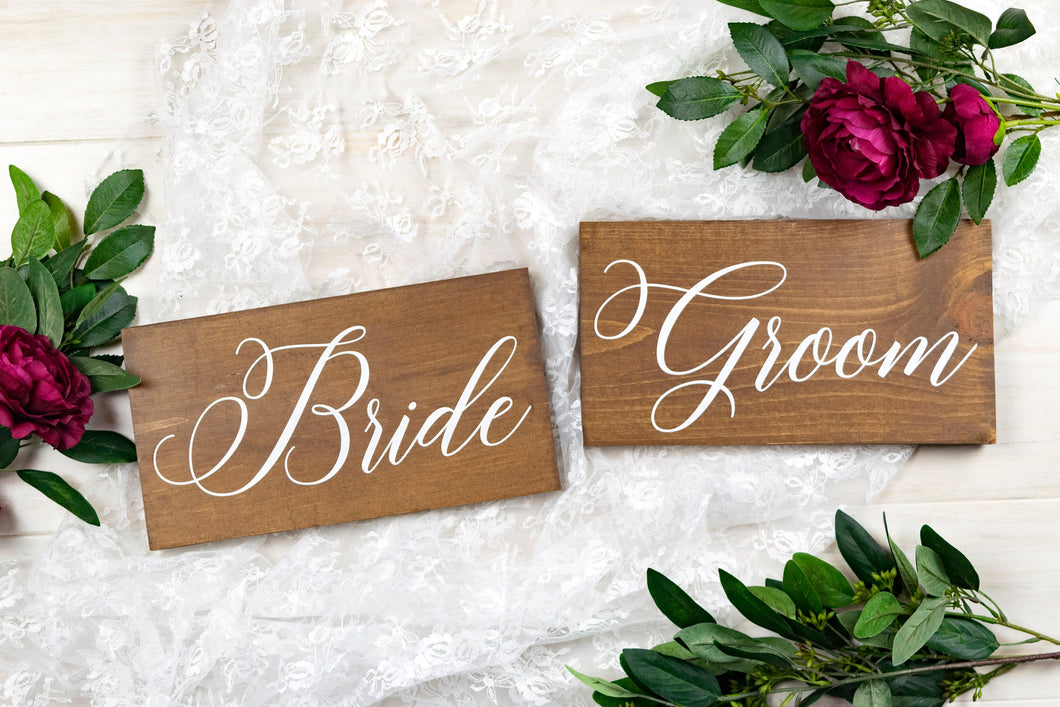 Wood Bride and Groom Wedding Chair Sign Set - 10