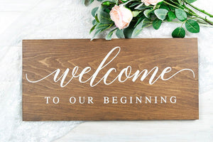 Wedding Welcome To Our Beginning Sign