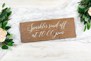 Wedding Sparkler Send Off Sign with Time
