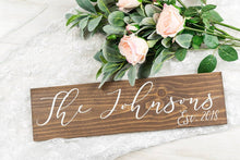 "Load image into Gallery viewer, Last Name and Est Year Wedding Sign - 20"" by 5.5"""