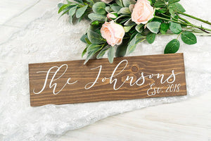 "Last Name and Est Year Wedding Sign - 20"" by 5.5"""
