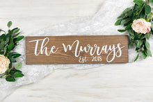 "Load image into Gallery viewer, Wedding Last Name Sign with Established Year - 20"" by 5.5"""