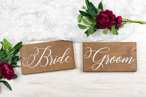 "Wood Bride and Groom Wedding Chair Sign Set - 10"" by 5. 5"""