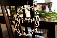 Load image into Gallery viewer, Laser Cut Boho Bride and Groom Wedding Chair Signs