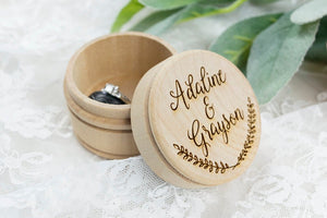 Personalized Wooden Wedding Ring Bearer Box