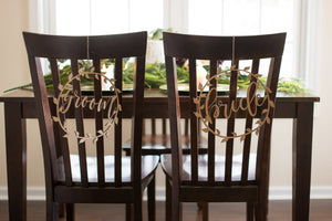 Laser Cut Boho Bride and Groom Wedding Chair Signs