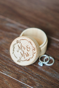 Engraved Mr and Mrs Wooden Ring Bearer Box