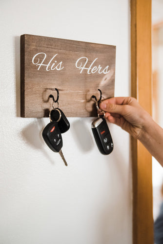 Wooden Wall Mounted His and Hers Key Holder