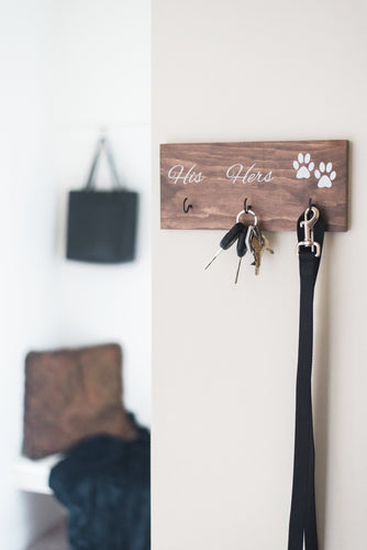 Personalized Last Name, His, Hers, and Paws Key and Leash Holder - 12